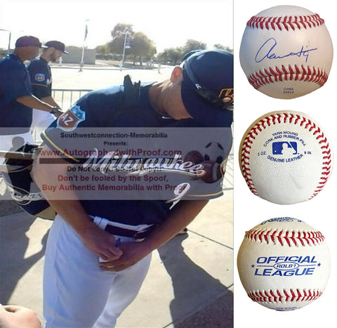 Baseballs-Autographed- Aaron Hill Signed ROLB1 Rawlings Baseball, Proof- Milwaukee Brewers - Toronto Blue Jays - Collage - 2