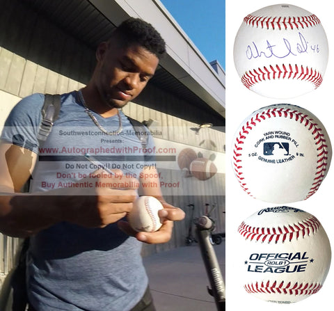 Baseballs- Autographed- Abiatal Avelino Signed Rawlings ROLB1 Leather Official League Baseball- Chicago Cubs- San Francisco Giants- Collage 1