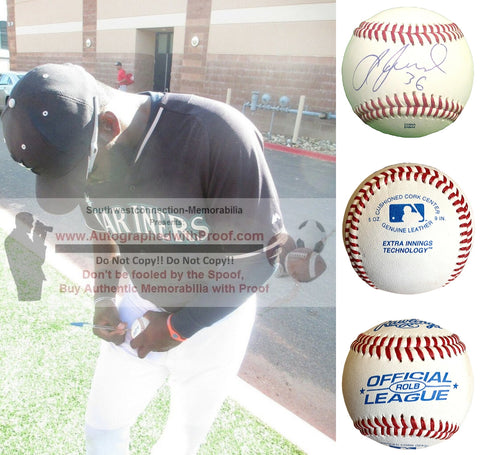 Baseballs-Autographed- Abraham Almonte Signed ROLB Rawlings Baseball, Proof Photo- Cleveland Indians- Seattle Mariners- Collage 1