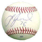 Baseballs-Autographed- Abraham Almonte Signed ROLB Rawlings Baseball, Proof Photo- Cleveland Indians- Seattle Mariners- 101