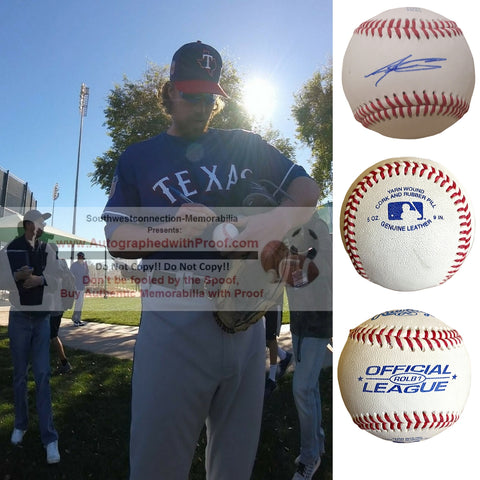 Baseballs-Autographed- Adam Loewen Signed ROLB1 Rawlings Baseball, Proof Photo - Texas Rangers- Toronto Blue Jays - Collage 1
