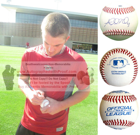 Baseballs-Autographed- Addison Reed Signed ROLB1 Rawlings Baseball, Proof Photo - Minnesota Twins- Chicago White Sox- Collage 4