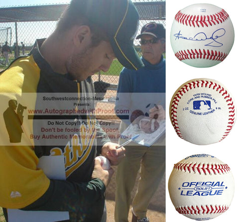Baseballs-Autographed- Adrian Cardenas Signed ROLB1 Rawlings Baseball, Proof Photo -Chicago Cubs- Oakland Athletics A's - Collage 1