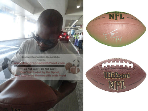 Footballs-Autographed- Ahmad Bradshaw Signed NFL Wilson Football, Proof -New York Giants- Indianapolis Colts- Marshall Thundering Herd- Collage- 1