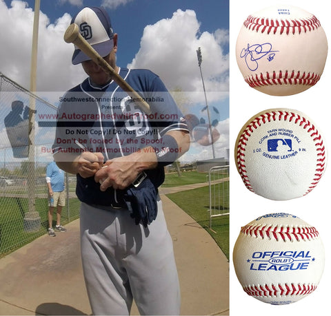 Baseballs-Autographed- A.J. Ellis Signed ROLB1 Rawlings Baseball, Proof Photo -San Diego Padres- Los Angeles Dodgers - Collage 1