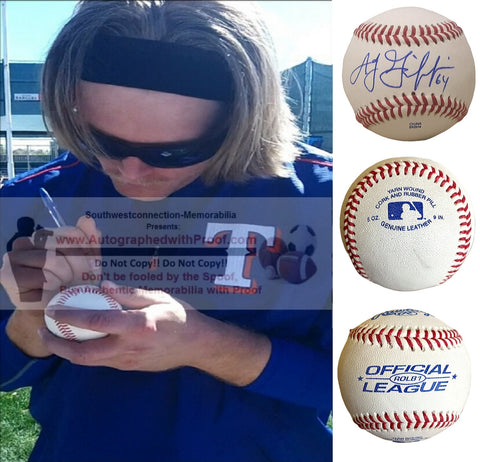 Baseballs-Autographed- A.J. Griffin Signed ROLB1 Rawlings Baseball, Proof Photo -Texas Rangers- Oakland Athletics A's - Collage - 2