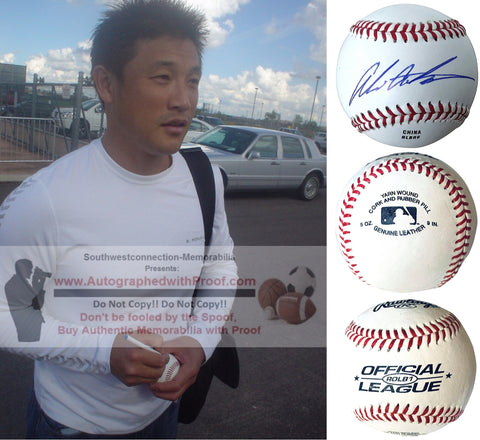 Baseballs- Autographed- Akinori Otsuka Signed ROLB1 Rawlings Official League Baseball Proof Photo- San Diego Padres- Texas Rangers- Chunichi Dragons- Collage- 2