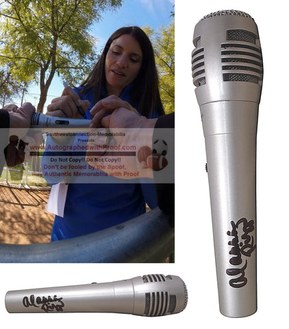 Microphones-Autographed- Alanna Rizzo Signed Full Size Pyle Microphone, Proof - Los Angeles Dodgers Collage 1
