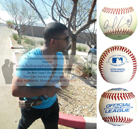 Baseballs-Autographed- Alberto Callaspo Signed Rawlings ROLB1 Baseball, Proof - Los Angeles Angels - Oakland Athletics - Collage - 1