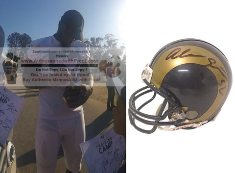 Football Helmets- Autographed- Alec Ogletree Signed Los Angeles Rams Mini Football Helmet, Proof Collage 1