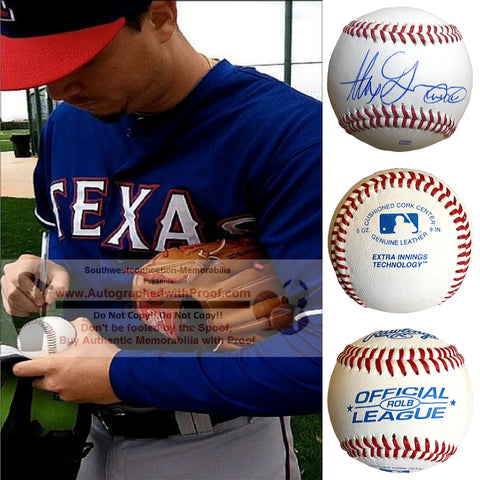 Baseballs- Autographed- Alex Chi Chi Gonzalez Signed Rawlings ROLB Baseball, Proof- Texas Rangers - Colorado Rockies - Collage - 101