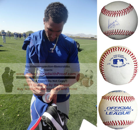 Baseballs- Autographed- Alexi Ogando Signed Rawlings ROLB1 Baseball, Proof Photo- Texas Rangers- Boston Red Sox - Collage 2