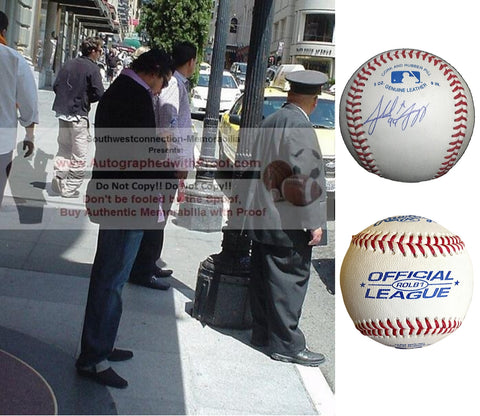 Baseballs- Autographed- Alfredo Amezaga Signed Rawlings ROLB1 Baseball, Proof Photo- Miami Marlins- Los Angeles Angels - Collage 1
