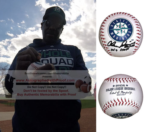 Baseballs-Autographed- Alvin Davis Signed Rawlings Seattle Mariners Logo ROMLB Baseball, Proof Photo- Collage 3