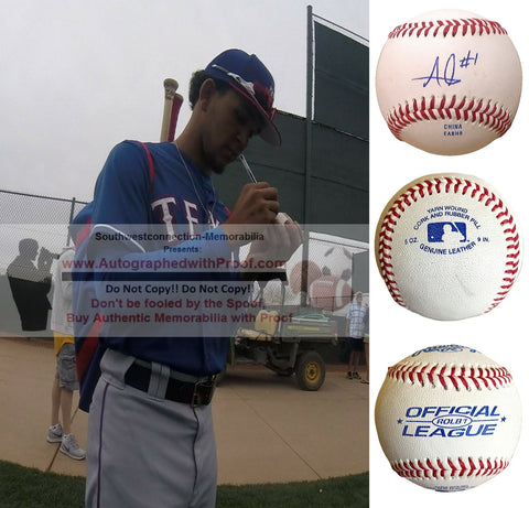Baseballs- Autographed- Anderson Tejeda Signed Rawlings ROLB1 Baseball, Proof Photo- Texas Rangers- Collage 2