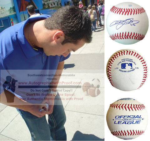 Baseballs- Autographed- Anthony Bass Signed Rawlings ROLB1 Baseball, Proof Photo- Texas Rangers- San Diego Padres - Collage 2