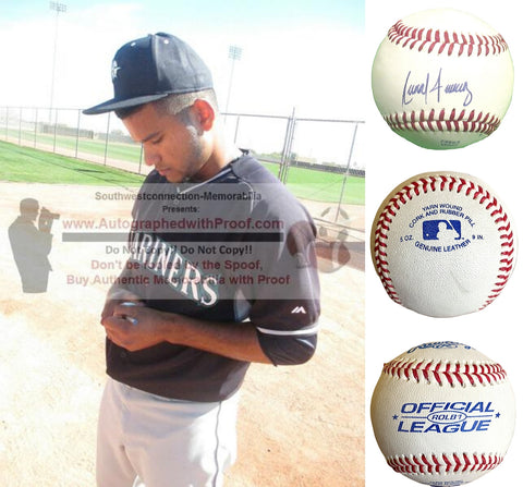 Baseballs- Autographed- Anthony Fernandez Signed Rawlings ROLB1 Leather Baseball - Seattle Mariners - Proof Photo - Collage - 1