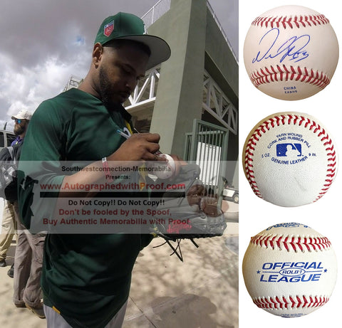 Baseballs- Autographed- Anthony Garcia Signed Rawlings ROLB1 Baseball, Proof Photo- Oakland A's Athletics - San Francisco Giants - Collage 2