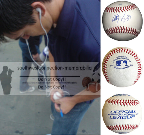 Baseballs- Autographed- Anthony Vasquez Signed Rawlings ROLB1 Baseball, Proof Photo- Detroit Tigers - Seattle Mariners - Collage- 1