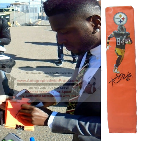 Football End Zone Pylons- Autographed- Antonio Brown Signed Pittsburgh Steelers TD Pylon, Proof- Collage- 1