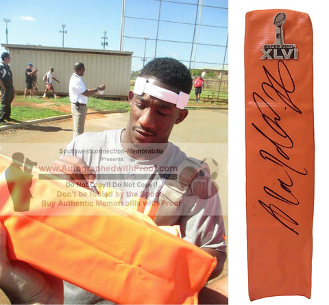 Football End Zone Pylons- Autographed- Antrel Rolle Signed New York Giants SB TD Pylon, Proof Collage 1