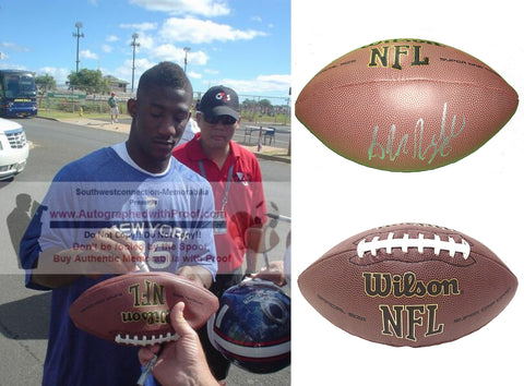 Footballs- Autographed- Antrel Rolle Signed NFL Wilson Football, Proof Photo- New York Giants- Arizona Cardinals- Miami Hurricanes- Collage- 2