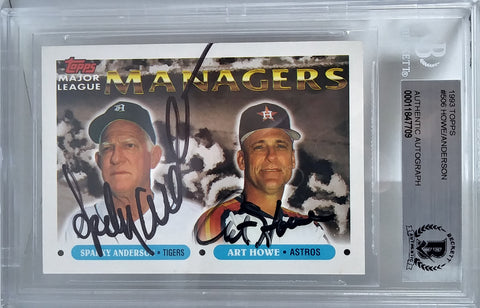 Baseballs- Autographed- Art Howe and Sparky Anderson Signed 1993 Topps Major League Managers Base Set Baseball Trading Card - Houston Astros - Detroit Tigers - Beckett BGS BAS Slabbed - Encapsulated - 101