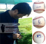 Baseballs- Autographed- Atsunori Inaba Signed Rawlings ROLB1 Baseball, Proof Photo- Yakult Swallows- Collage 1