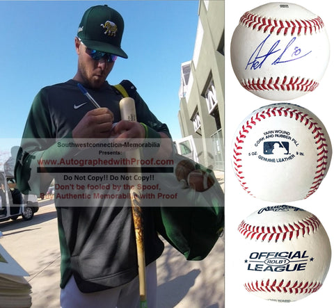 Baseballs- Autographed- Austin Allen Signed Rawlings ROLB1 Baseball - Oakland Athletics- San Diego Padres- Proof Photo- Collage - 1