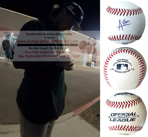 Baseballs- Autographed- Austin Beck Signed ROLB1 Baseball Proof Photo- Oakland Athletics A's - Collage 2
