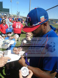 Baseball Home Plates-Autographed - Delino Deshields Jr. Signing Texas Rangers Home Plate, Proof