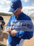Baseballs-Autographed - Ned Yost Signing Rawlings ROLB Leather Baseball, Proof Photo