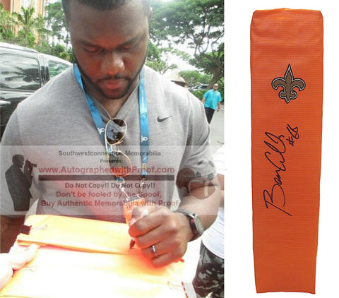 Football End Zone Pylons- Autographed- Ben Grubbs Signed New Orleans Saints TD Pylon, Proof- Collage- 1