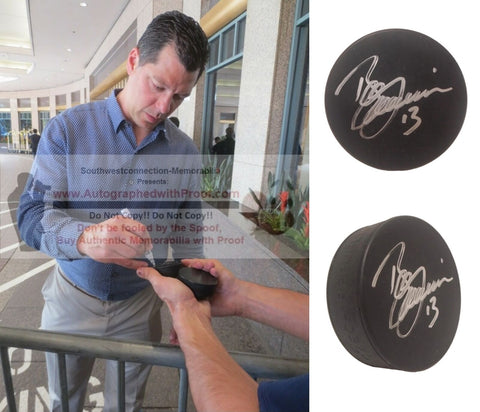 Hockey Pucks- Autographed- Bill Guerin Signed Hockey Puck, Proof Photo- Calgary Flames- Dallas Stars- Collage 1