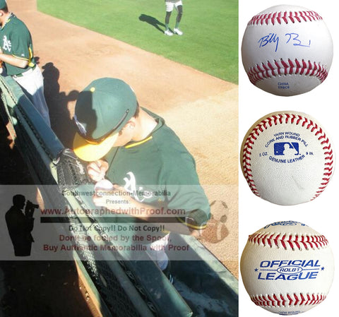 Baseballs- Autographed- Billy Burns Signed Rawlings ROLB1 Baseball, Proof- New York Yankees- Oakland Athletics A's - Collage 4