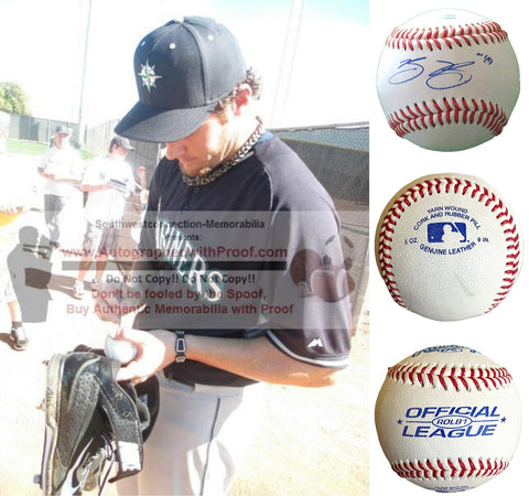Baseballs- Autographed- Blake Beavan Signed Rawlings ROLB1 Baseball, Proof Photo- Seattle Mariners- New York Mets - Collage 1