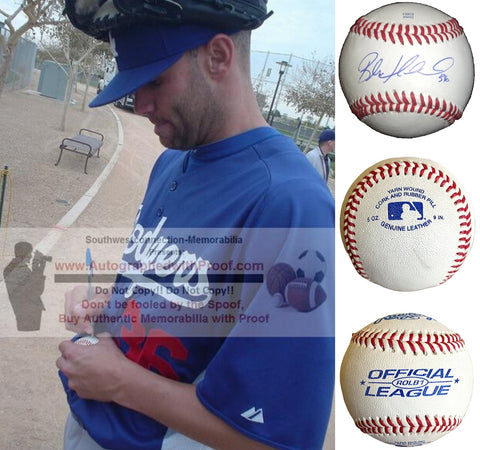 Baseballs- Autographed- Blake Hawksworth Signed Rawlings ROLB1 Baseball, Proof- Los Angeles Dodgers- St Louis Cardinals- Collage 1