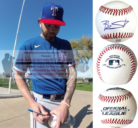 Baseballs- Autographed- Blake Swihart Signed Rawlings ROLB1 Baseball - Texas Rangers - Boston Red Sox - Proof Collage 1