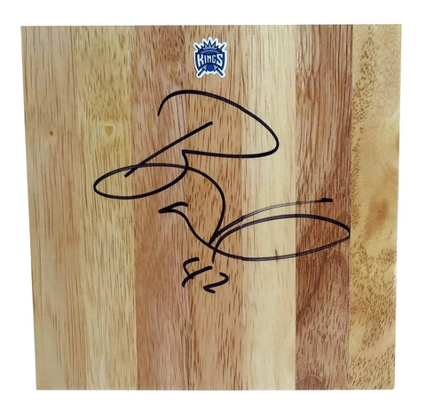 Basketballs- Autographed- Bonzi Wells Signed Sacramento Kings 6x6 Parquet Floorboard, Proof