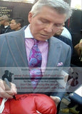 Boxing Gloves-Autographed - Michael Buffer Signing Everlast Boxing Glove W/ Inscription, Proof Photo - Beckett BAS 1