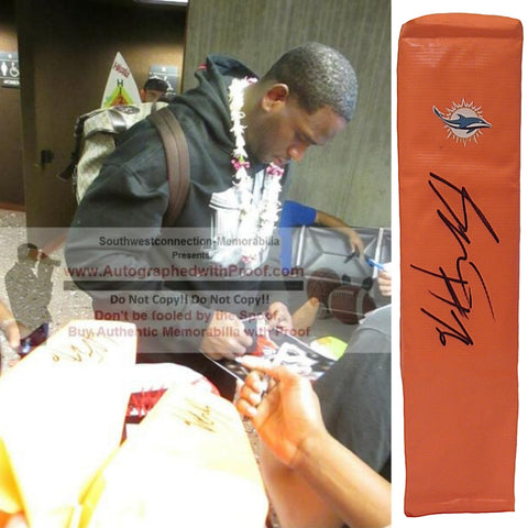 Football End Zone Pylons- Autographed- Branden Albert Signed Miami Dolphins TD Pylon, Proof Photo- Collage- 1