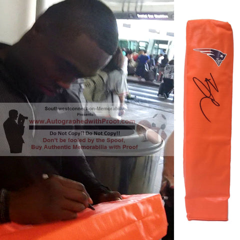 Football End Zone Pylons- Autographed- Brandin Cooks Signed New England Patriots TD Pylon, Proof- Collage- 2