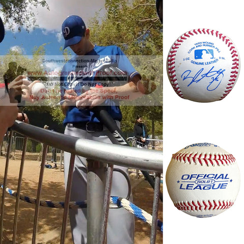 Baseballs- Autographed- Brandon McCarthy Signed Rawlings ROLB1 Baseball Proof Photo- Los Angeles Dodgers- New York Yankees- Collage 2
