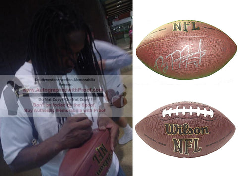 Footballs- Autographed- Brandon Meriweather Signed NFL Wilson Football, Proof- Chicago Bears- New England Patriots- Miami Hurricanes- Collage- 1