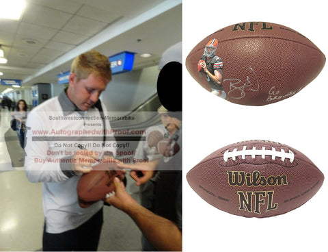 Footballs- Autographed- Brandon Weeden Signed Cleveland Browns NFL Wilson Photo Football- Oklahoma State Cowboys- Proof- Collage- 1