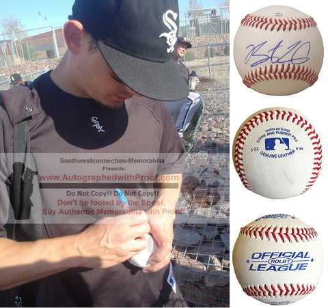 Baseballs- Autographed- Brent Lillibridge Signed Rawlings ROLB1 Baseball, Proof- New York Yankees- Atlanta Braves- Collage 2