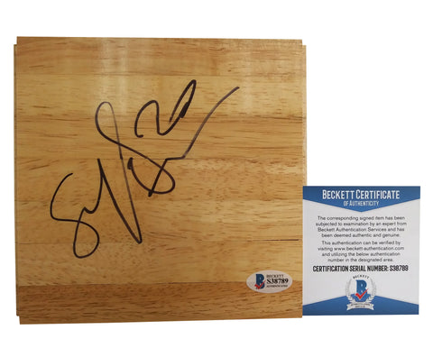 Basketballs-Autographed - Brittney Sykes Signed 6x6 Parquet Basketball Floor, Proof- Atlanta Dream - Beckett Authentication BAS 1