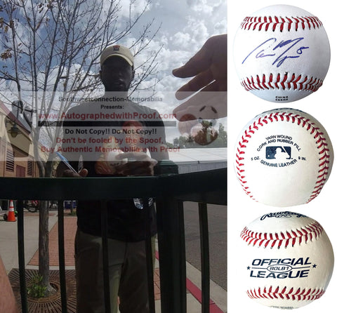 Baseballs- Autographed- Cameron Maybin Signed Rawlings ROLB1 Baseball Proof Photo- Houston Astros- New York Yankees- Collage - 2