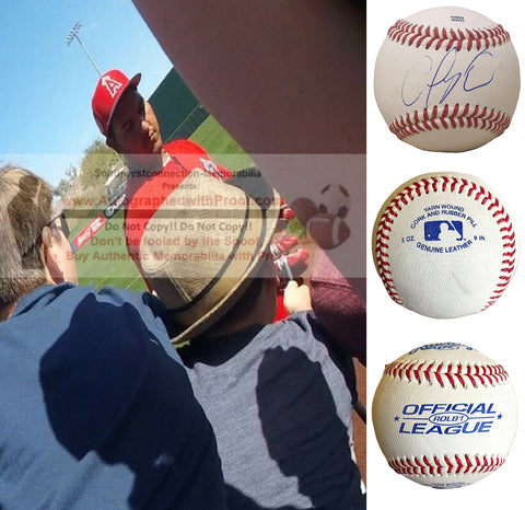 Baseballs-Autographed - Carlos Perez Signed Rawlings ROLB1 Leather Baseball, Proof Photo- Baltimore Orioles- Oakland Athletics A's - Collage 1