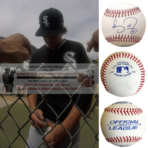 Baseballs-Autographed - Carson Fulmer Signed Rawlings ROLB1 Leather Baseball, Proof Photo- Pittsburgh Pirates- Chicago White Sox- Collage - 2